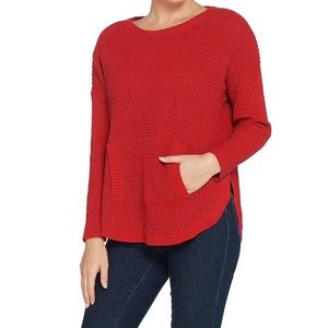 Waffle Texture Pull Over Sweater Claret Red Pocket